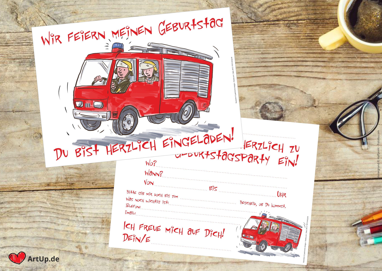 12 feuerwehr einladungskarten kindergeburtstag - jungs